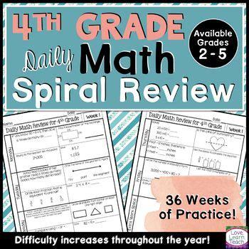 grade math spiral review morning work year long bundle
