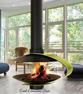 Cheminée Bois Design : cheminee centrale design bois ~ Premium-room.com Idées de Décoration