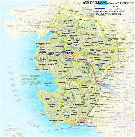 karte von dithmarschen region  deutschland schleswig