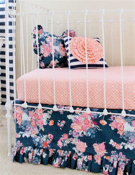 navy crib bedding navy floral custom baby bedding handmade crib set