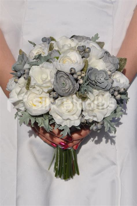 Shop Stunning Fresh Touch Ivory Rose Grey Ranunculus