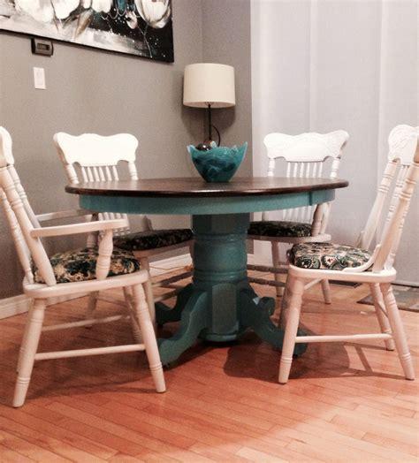 refurbished oak kitchen table  teal  fresh white