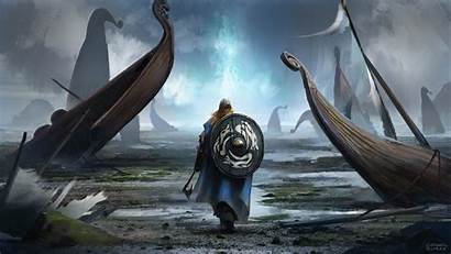 Viking Warrior Landscape Drakkar Fantasy Background Wallpapers