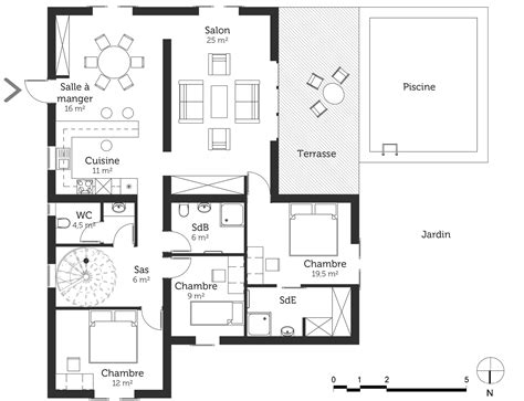 plan maison piscine interieure plan maison moderne avec piscine ooreka