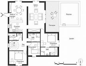 plan maison moderne avec piscine ooreka With plan maison avec patio 0 plan maison carree avec piscine ooreka
