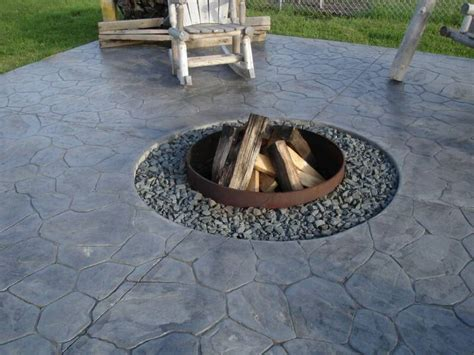 concrete patio design ideas with pit landscaping