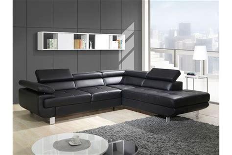 canapé d angle convertible cuir noir canapé design d 39 angle studio cuir pu noir canapés d