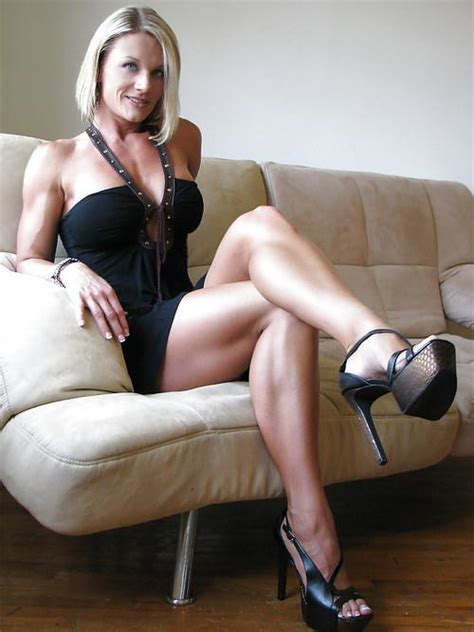 Her Calves Muscle Legs Fit Woman Wears Sexy High Heels