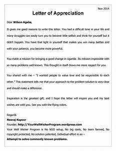 Appreciation letter storing hope for Sample letter of recognition for teamwork