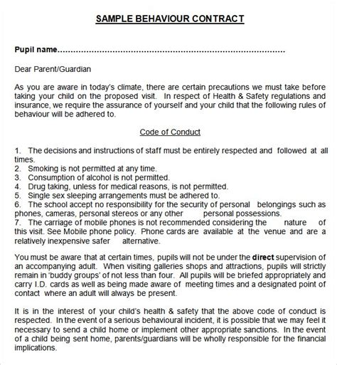 behavior contract template for adults sle behaviour contract 15 free documents in pdf word