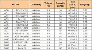 Lithium Battery Replacement Chart Lr41 1 5v Alkaline Button Cell Battery