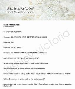 Bride groom wedding questionnaires for photographers set of for Wedding photography questionnaire