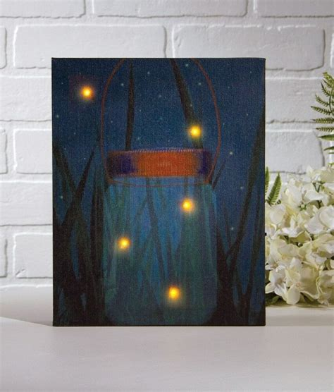 Flickering Light Canvas by Firefly Jar Lighted Picture W Flickering Lights Timer