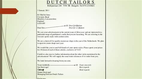 idiom business letter english dutch  van eijkma