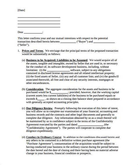purchase letter  intent  word  format