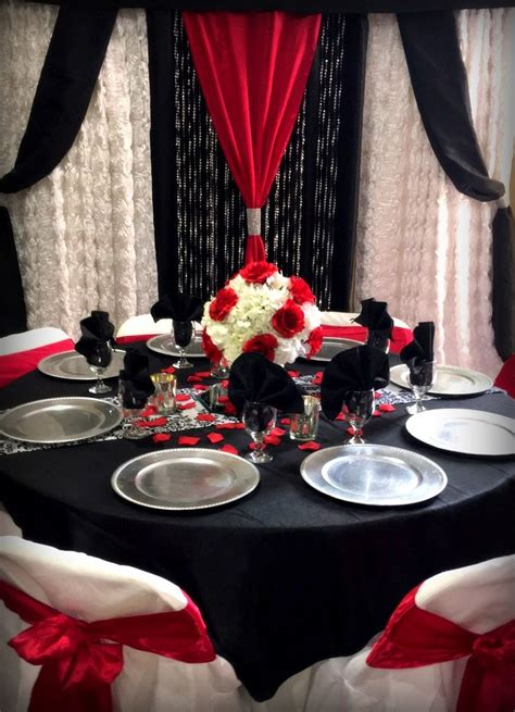 red black and white table with matching backdrop in 2019