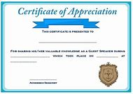 Best 25 ideas about certificate of appreciation find what you guest speaker certificate of appreciation template yelopaper Gallery