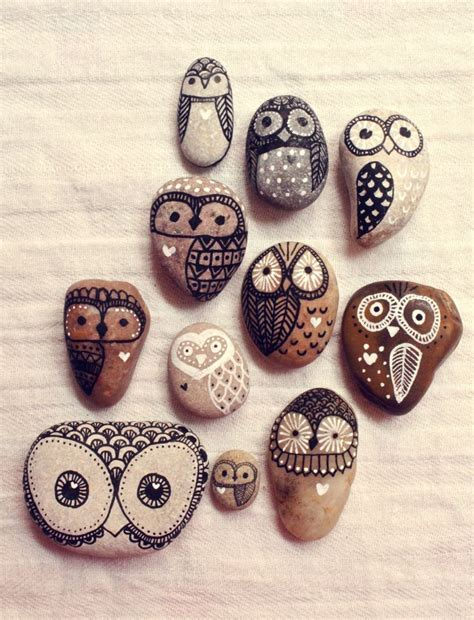 bemalte steine vorlagen eulen kindergarten niedlich owls steine bemalen