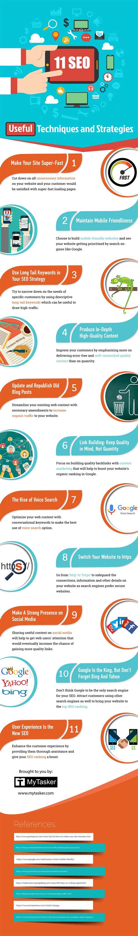 seo techniques 11 seo techniques to rank higher on infographic