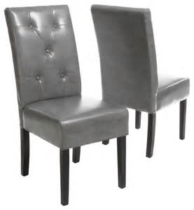 grey leather dining chair set of 2