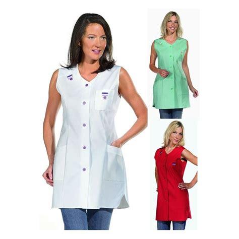 blouse de cuisine femme pas cher blouse femme sans manches avec passepoil coloré