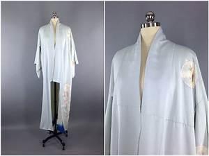vintage kimono silk kimono robe dressing gown long With robe downton abbey