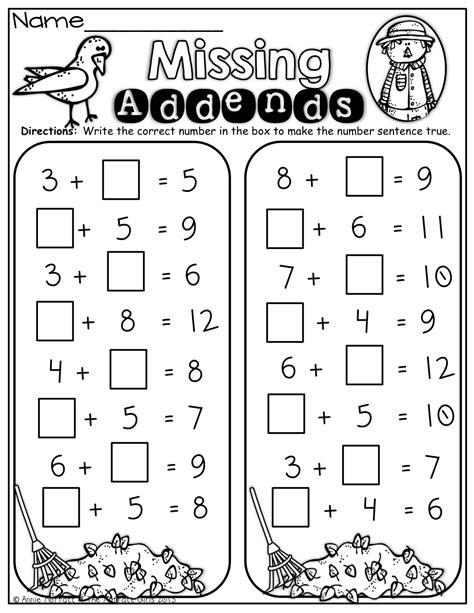Math Worksheets Addition Missing Addends  Worksheet Example