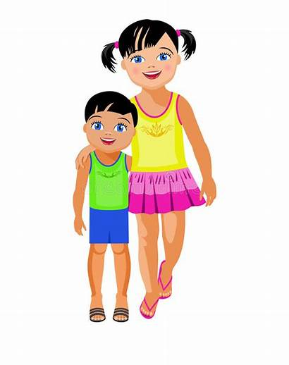 Sister Brother Older Younger Embraces Vector Illustration