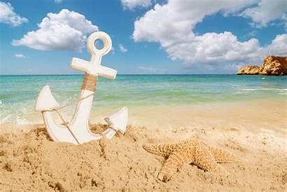 Sea Anchor Beach Starfish Sand Clouds Sky
