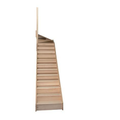 escalier quart tournant haut gauche en h 234 tre avec contre marches sans re hauteur 272 cm