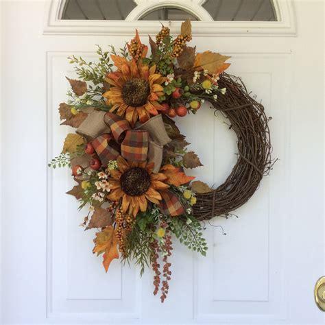 rustic wreaths fall wreath sunflower wreath rustic wreath country