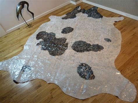 Silver Metallic Cowhide Rug by Black And White With Silver Metallic Cowhide Rug Cm139