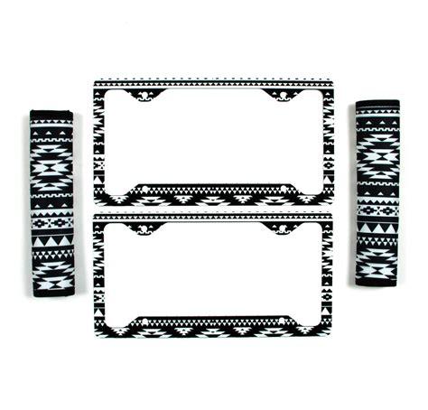 black  white aztec license plate frame seat belt
