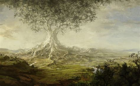 Tree Giant Valley River Roots Art Paintings Landscapes