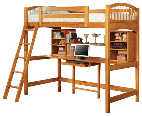 coaster wood loft bunk bed with workstation in