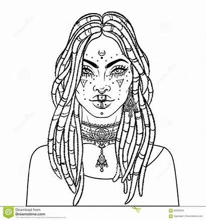 Woman African Vector Pretty American Illustration Braids
