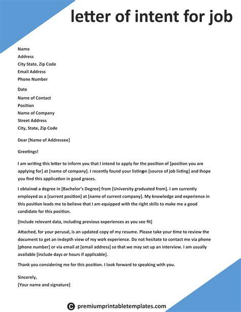 letter  intent  job intent letter templates job
