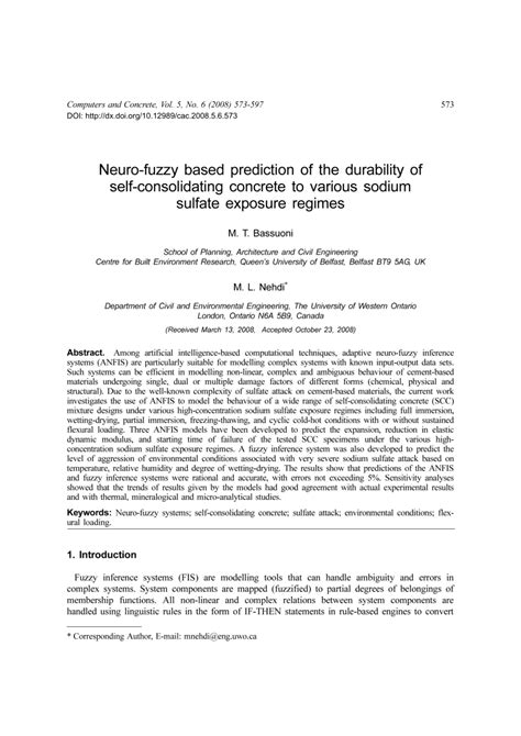 (PDF) Neuro-fuzzy based prediction of the durability of