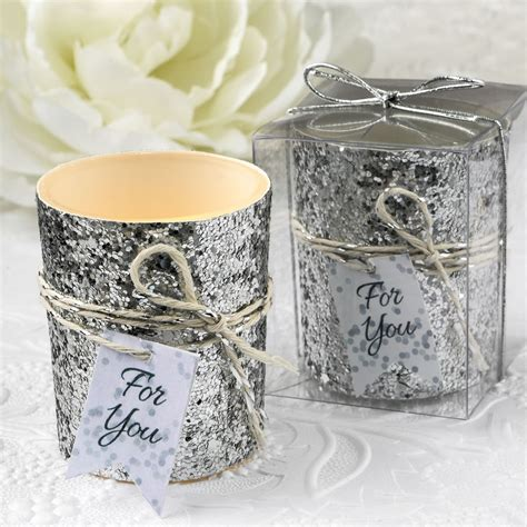 Silver Or Gold Glitter Candle Wedding Favors