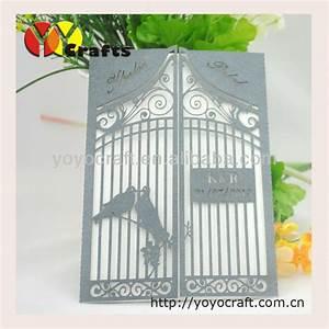 hot sell creative design handmade laser cutting love bird With laser cut birdcage wedding invitations