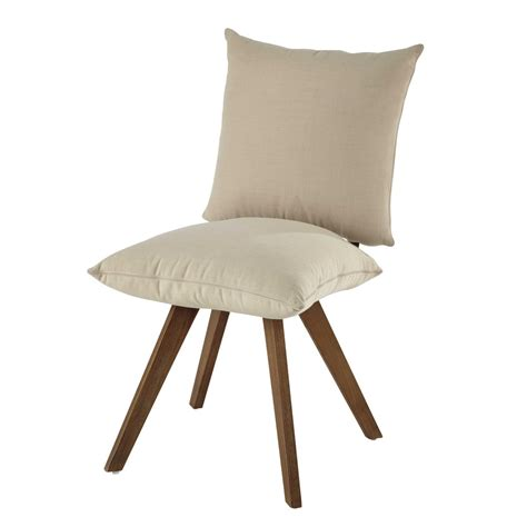 chaise bois et tissu chaise en tissu déperlant et bois écrue nola maisons du monde