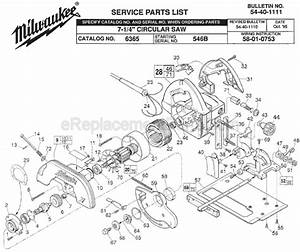 Milwaukee 6365 Parts List And Diagram