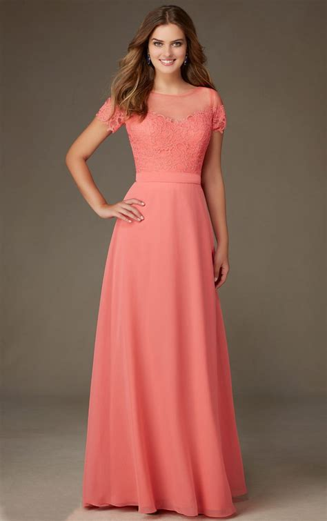 coral lace bodice short sleeved long   chiffon