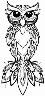 Owl Tattoo Tribal Outline Coloring Pages Bird Adult Drawing Owls Colouring Yahoo Pattern Books sketch template