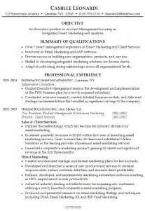 marketing resume summary exles resume for an executive account manager susan ireland resumes