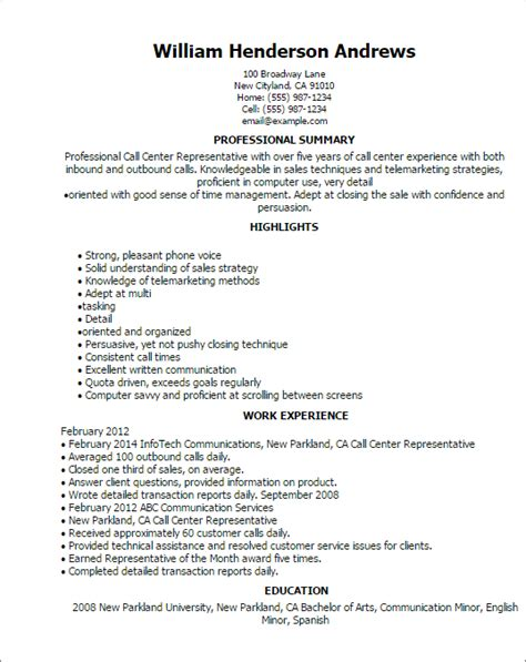 professional call center representative templates to