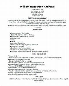 professional call center representative templates to With call center customer service representative resume