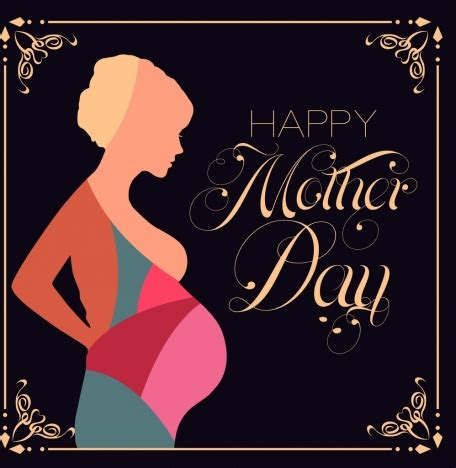 mother day background pregnant woman icon colorful