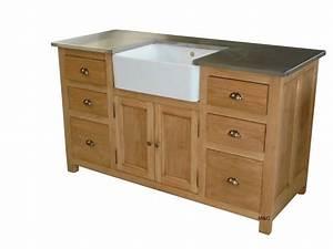 Meuble Bois Brut : meuble sous evier de cuisine bois massif ~ Teatrodelosmanantiales.com Idées de Décoration