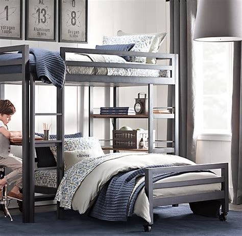 restoration hardware bunk bed industrial loft study bunk bed with 1 desk